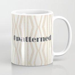Pastel White Cream Linen Geometric Pattern Coffee Mug