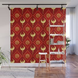 Gold Phoenix and lotus symbol pattern on red Wall Mural