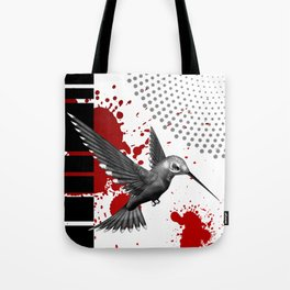 Trash Polka Flying Hummingbird Geometric Shapes Tote Bag