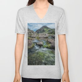 Tryfan Mountain Stream  Unisex V-Neck