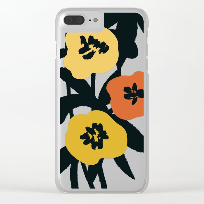Midnight Flowers Clear iPhone Case