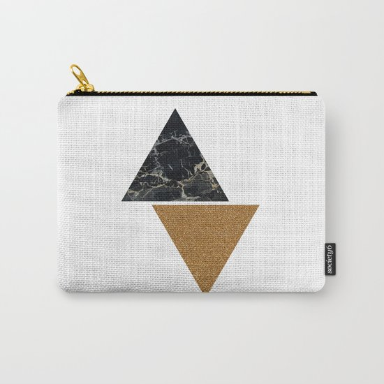 Dark marble and bronze geo Carry-All Pouch