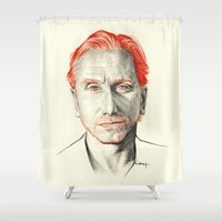 tim burton Shower Curtains featuring Tim Roth by Creadoorm