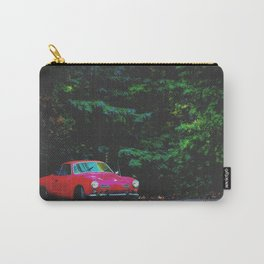 red classic car in the forest with green tree background Carry-All Pouch