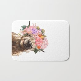 Highland Cow with Flower Crown Bath Mat