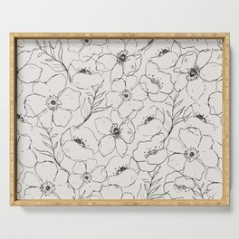 Floral Simplicity - Neutral Black Serving Tray