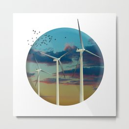 Wind Turbines Painted Sky Metal Print
