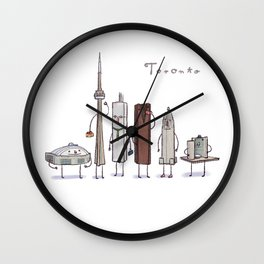 Toronto skyline art print Wall Clock