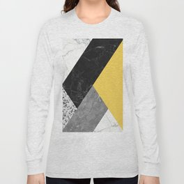 Black and White Marbles and Pantone Primrose Yellow Color Long Sleeve T-shirt