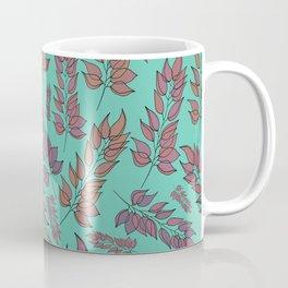 Pink and Peach Leaf Pattern Coffee Mug