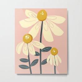 1 2 3 Daisies Light Pink Metal Print