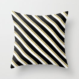 Black Gold White Stripe Pattern 1 Throw Pillow