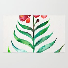 Blooming Orchid – Red & Green Palette Rug