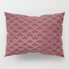 Fuchsia Golden Scalloped Pillow Sham