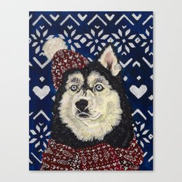 Husky in a Hat and Scarf Canvas Print
