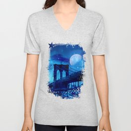 Full Moon Over Brooklyn Bridge Unisex V-Neck