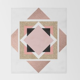 Carré rose Throw Blanket