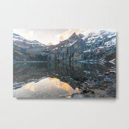 Glacier Mountain Landscape (Oeschinen Lake) Metal Print