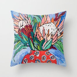 Protea Bouquet in Red Bulb vase on Ultramarine Blue Floral Still Life Painting Throw Pillow