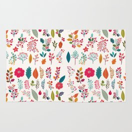 Colorful fall orange pink ivory holly berries floral Rug