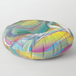 Kingfisher 1h2. Crazy Colors - (Red eyes series) Floor Pillow