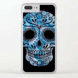 Blue Lace Sugar Skull Clear iPhone Case