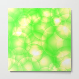 Gentle intersecting green translucent circles in pastel colors with a spring glow. Metal Print
