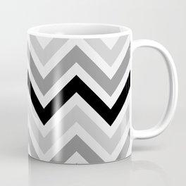 Chevron Stripes : Black Gray White Coffee Mug