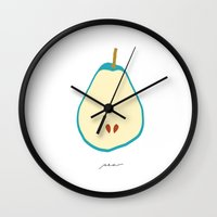 pear Wall Clocks featuring PEAR by Lara Trimming
