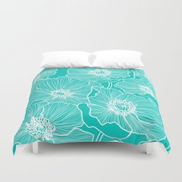 Turquoise Poppies Drawing Duvet Cover