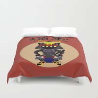 army Duvet Covers featuring Cat Army by BATKEI