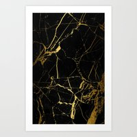 black and gold Art Prints featuring Black & Gold by Coconuts & Shrimps