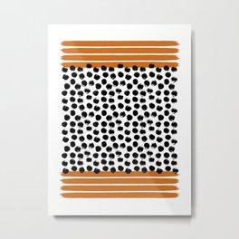 Orange Stripes & Black Dots Metal Print