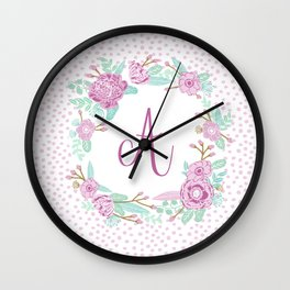 Monogram A - cute girls purple florals flower wreath, lilac florals, baby girl, baby blanket Wall Clock