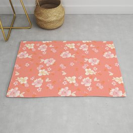 Peaches and Cream Floral Pattern Rug