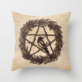 Botanical Pentacle: Wild Witch Throw Pillow