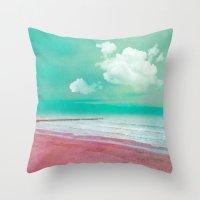 silent Throw Pillows featuring SILENT BEACH by VIAINA