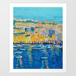 Fishing Boats of Genoa - palette knife city landscape Italy by Adriana Dziuba Art Print