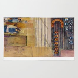 The Rock - Rainbow Room - New York City  Original Watercolor Print Rug