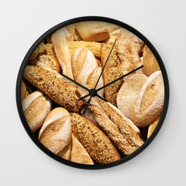 Bread baking rolls and croissants Wall Clock