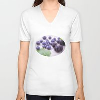 fruits V-neck T-shirts featuring Blue Fruits by Tanja Riedel