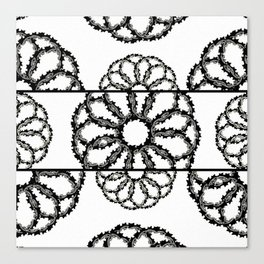 Black & White Scalloped Rings & Circles Canvas Print