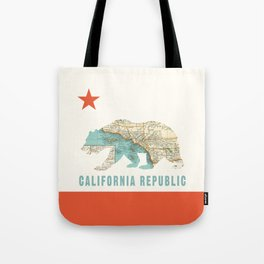 California Bear Flag with Vintage Map Tote Bag