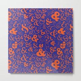 Ampersands - Blue & Orange Metal Print