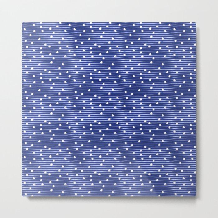 Lines and Circles - Blue Metal Print