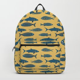 Fishes on Gold Water. Mediterranean Sea Pattern Collection Backpack