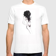 BIG HAIR MEDIUM White Mens Fitted Tee
