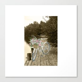White Vintage Bicycle on a Pier in Oulu Finland Canvas Print