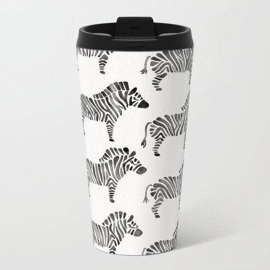 Zebras – Black & White Palette Metal Travel Mug