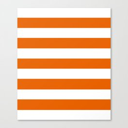 Spanish orange - solid color - white stripes pattern Canvas Print